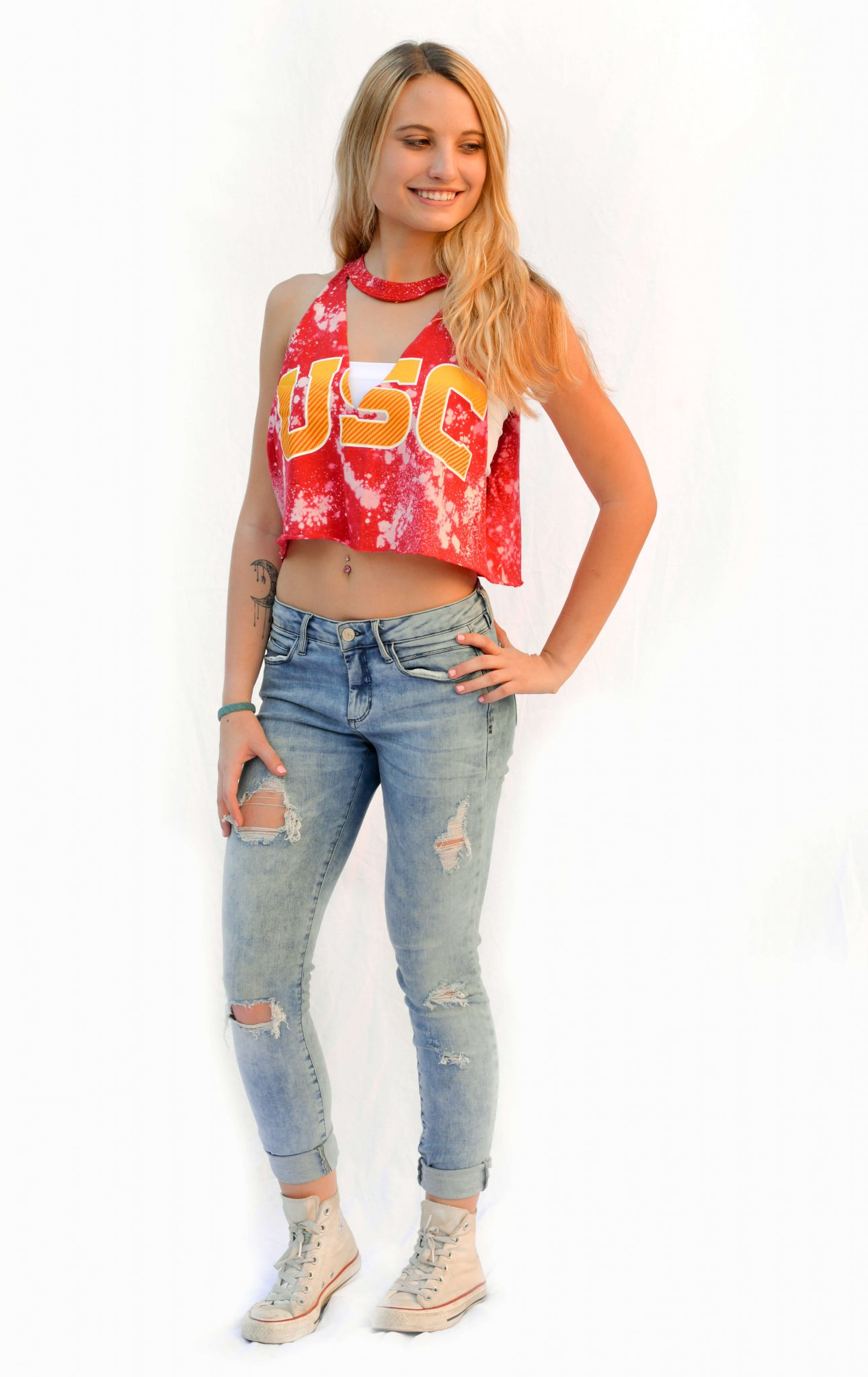 Hailey college cut out tank or tee gamebaes custom for Custom acid wash t shirts